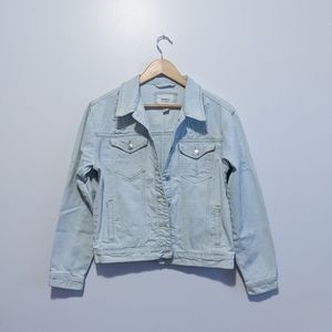 Forever21 Distressed Light Wash Denim Jacket